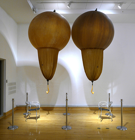 balloon mouth pieces 15 and 16, cast rubber, weather balloon, plastic,  cord, 22' x 25' x 8', 2014