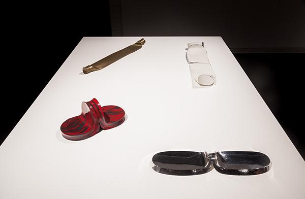 Myra Mimlitsch-Gray, Splitsies, 2014, porcelain enamel on steel and Split Slab, 2012, Handwrought Silver