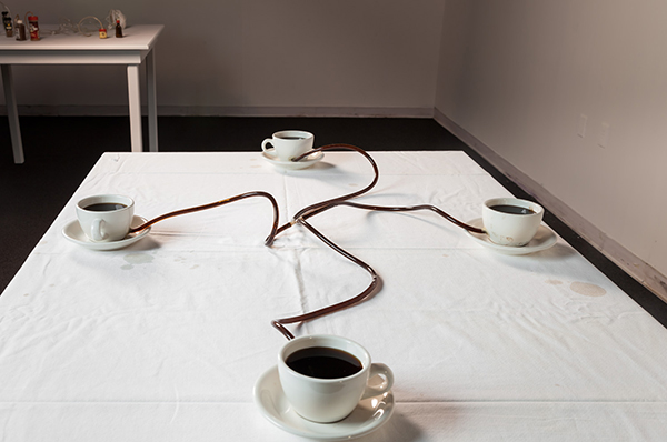 Allan Wexler, Coffee Seeks Its Own Level, 1990, ceramic, plastic