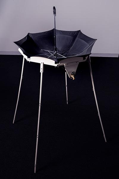 Allan Wexler, Umbrella Rain Catcher, 1994, umbrella, plumbing, hardware, wood