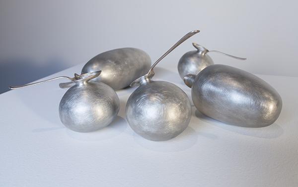 David Clarke, Blown, spoons, 2014, pewter