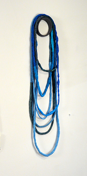 "All the Blue Bags Necklace, reused plastic bags, 30"" x 8"" x 2"", 2015"