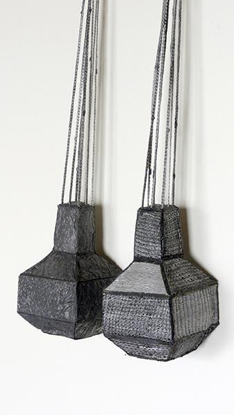 "Gray/Gray Neckpiece, reused plastic bags, copper shot, 21"" x 5 ½"" x 2 ¼"", 2017"