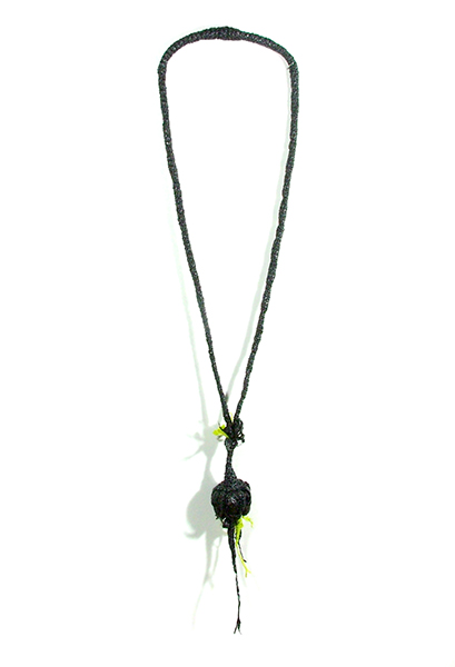 """Green Sprout Necklace, plastic bags, 31"""" x 5 ½"""" x 2"""", 2012"""