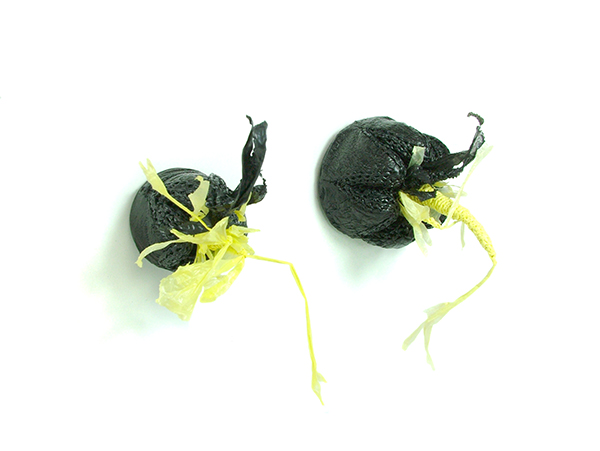 """Large Yellow Sprout Brooch, plastic bags, plastic, steel findings, 2 ½""""x 2 ½""""x 4"""", 2012"""