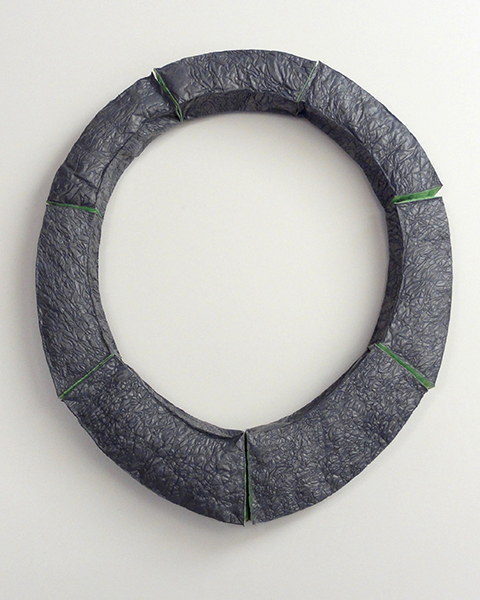 "Gray/Green Hinged Collar, reused plastic bags, plastic, 12 ¼"" x 10 ¾"" x 7/8"", 2017"